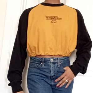 HARLEY DAVIDSON | Yellow and black embroidered top